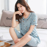 Antarctic pajamas female summer short-sleeved cropped trousers thin section middle-aged and elderly mothers cotton middle-aged summer home service