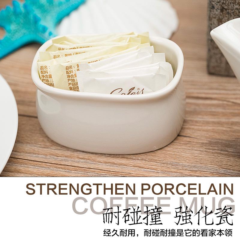 强化瓷纯白糖缸一次性袋装糖罐简约便捷糖盒澳式糖缸咖啡配套器具