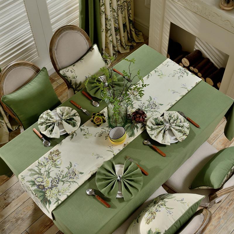 现代简约美式乡村茶几时尚桌旗棉麻餐桌布艺桌布电视柜田园床旗