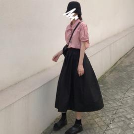 短袖衬衫女宽松韩版设计感小众粉色上衣夏季学生日系少女感衬衣潮