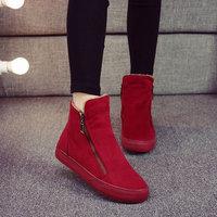 名将冬季加绒马丁靴女韩版懒人拉链加厚棉鞋全黑短靴休闲保暖女鞋 (¥59)