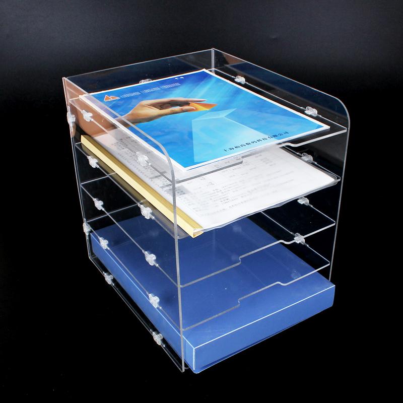 绚动办公收纳盒亚克力文件柜A4多层文件架桌面透明文件收纳架