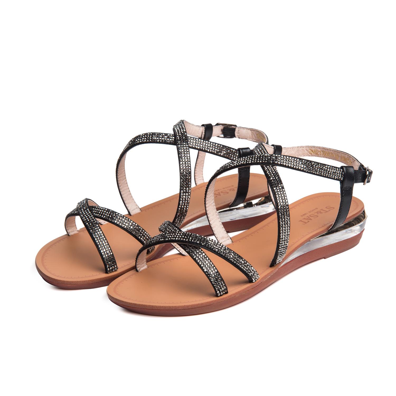 星期六2017夏季新款水钻搭扣绑带低跟坡跟鞋凉鞋女鞋子SN62110007