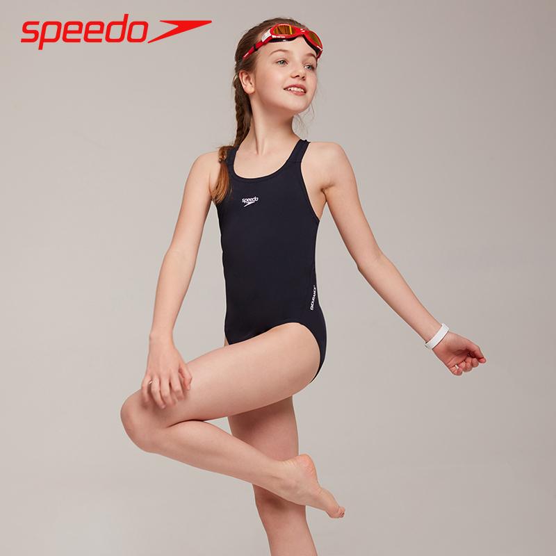 speedo兒童泳衣 中大童三角連體耐穿訓練游泳衣 女童女孩學生泳裝