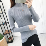 2019 autumn and winter new half-high collar tight-fitting sweater women's sweater thickening inside the bottom long-sleeved slim coat tide