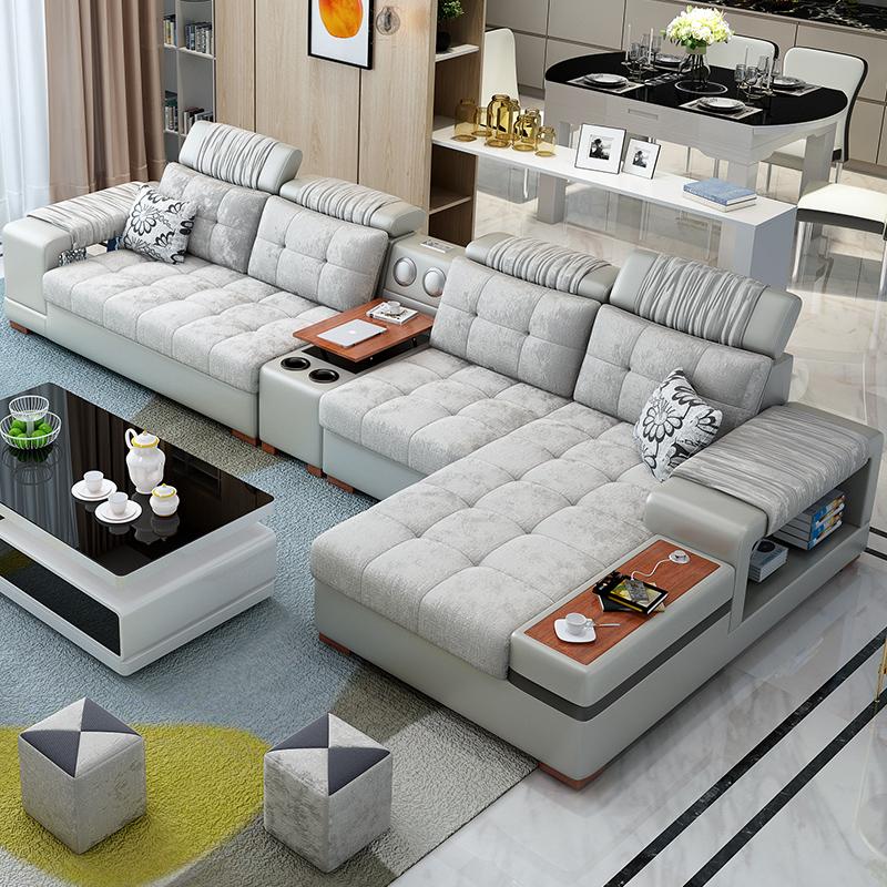 布艺沙发组合简约现代北欧大客厅小户型整套装多功能乳胶皮布沙发