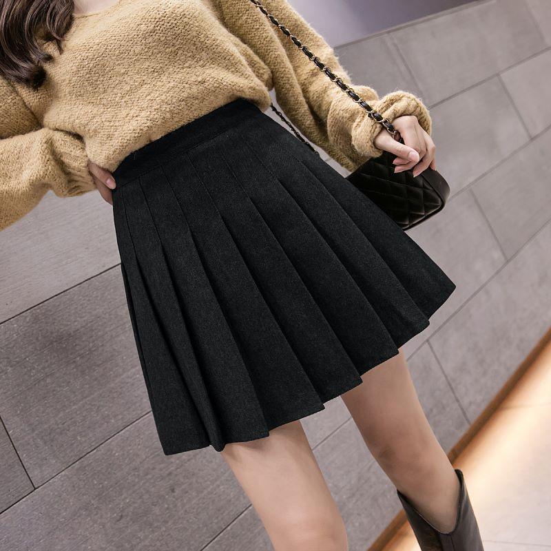 格子半身裙女2021年秋冬新款毛呢高腰百褶裙短裙黑色大码a字裤裙