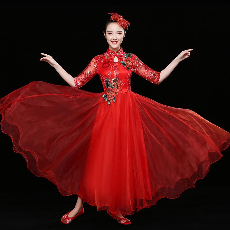 新款大合唱演出服女长裙中国风开场舞大摆裙现代舞蹈服装大人 2018