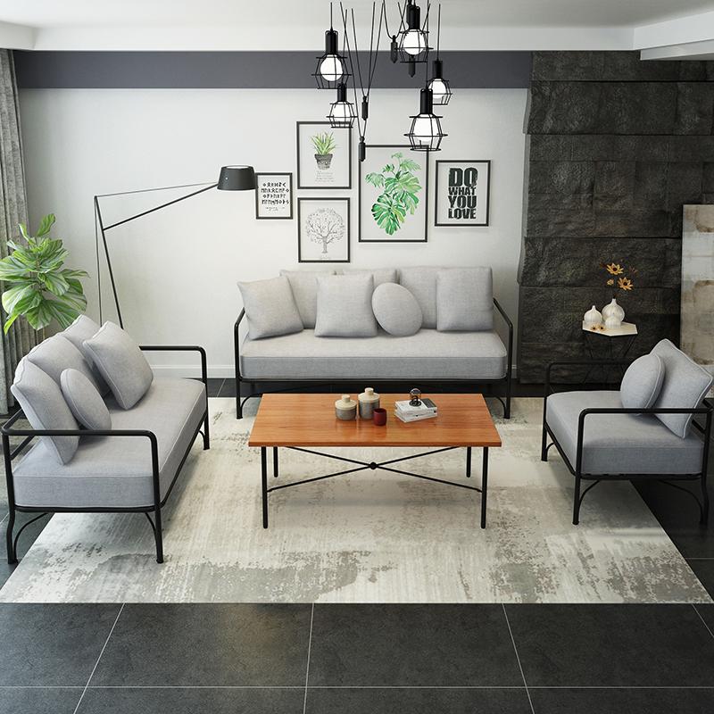 北欧工业风沙发LOFT复古工作室创意网红铁艺个性沙发组合店铺卡座
