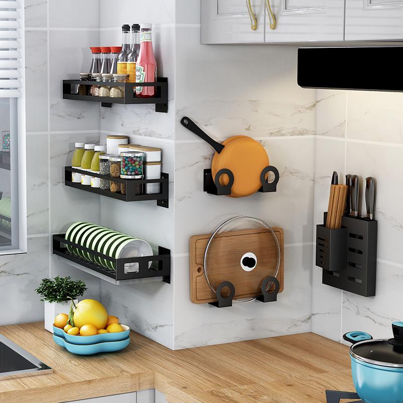 厨房置物架壁挂式免打孔家用调味调料用品大全神器刃架挂架收纳架