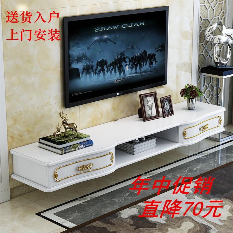 現代簡約實木壁掛牆掛電視櫃小戶型電視客廳機頂盒臥室烤漆置物架
