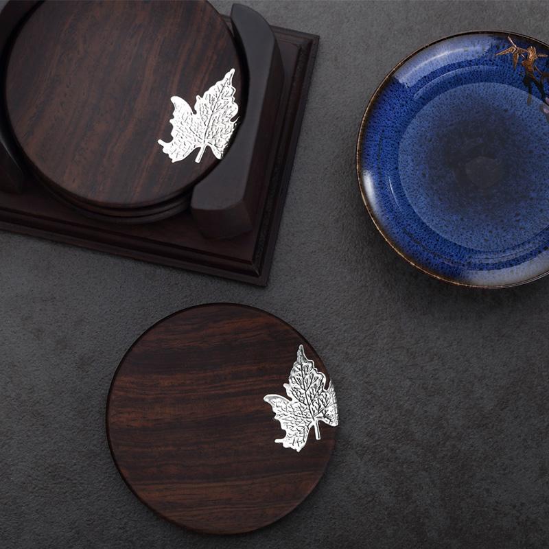 中国风黑檀实木茶垫杯垫茶杯垫茶道功夫茶杯茶托茶具套装家用配件