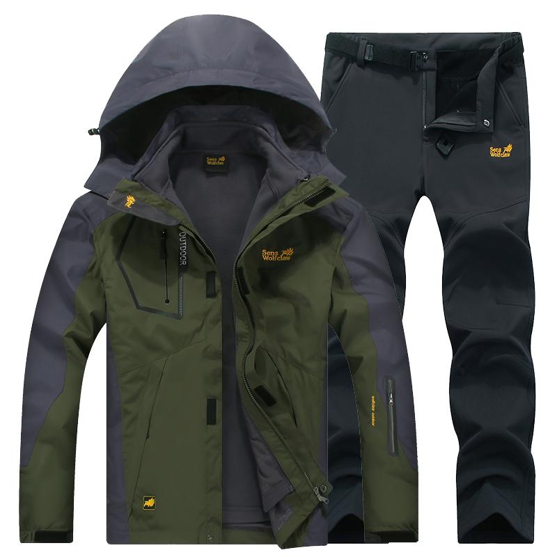 冬季冲锋衣男户外衣裤套装女三合一防风加绒加厚可拆卸两件套潮牌