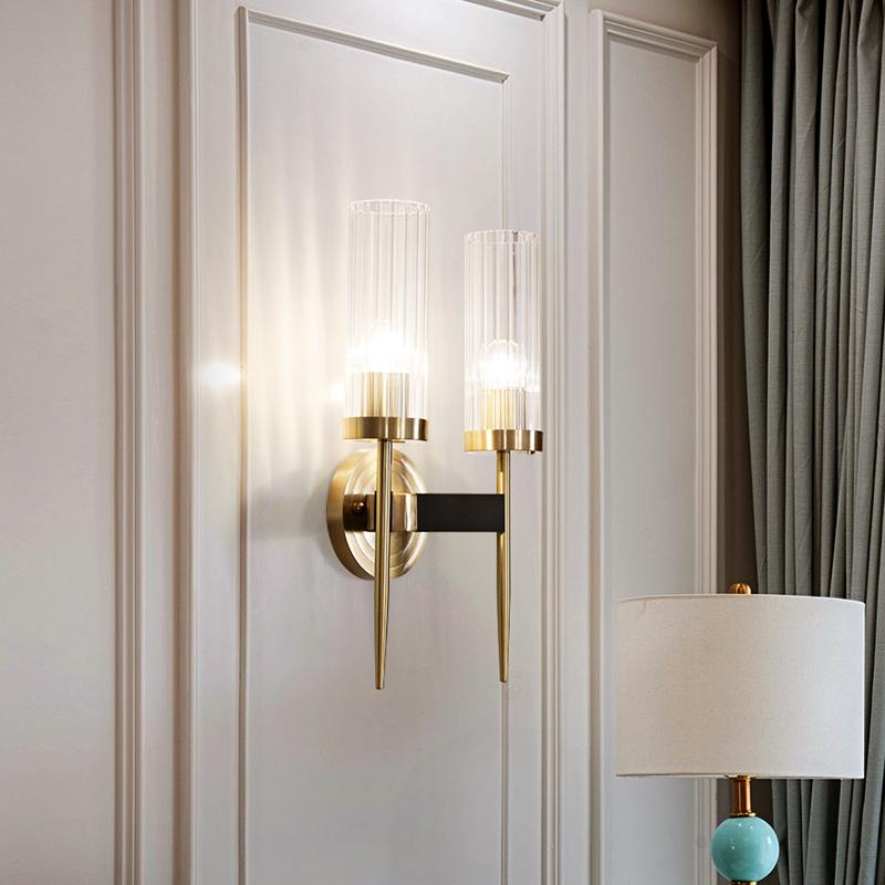 全铜美式轻奢壁灯客厅卧室床头灯高透光玻璃灯罩过道走廊墙壁灯
