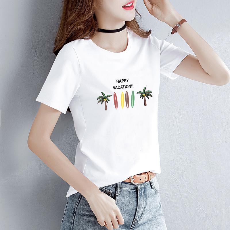 超火cec上衣服纯棉白色T恤女短袖夏装2021新款宽松女装体恤ins潮