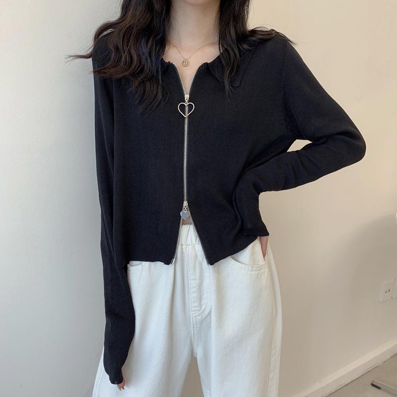 大码针织衫女胖妹妹mm早秋2021年新款韩版设计感小众短外套上衣潮