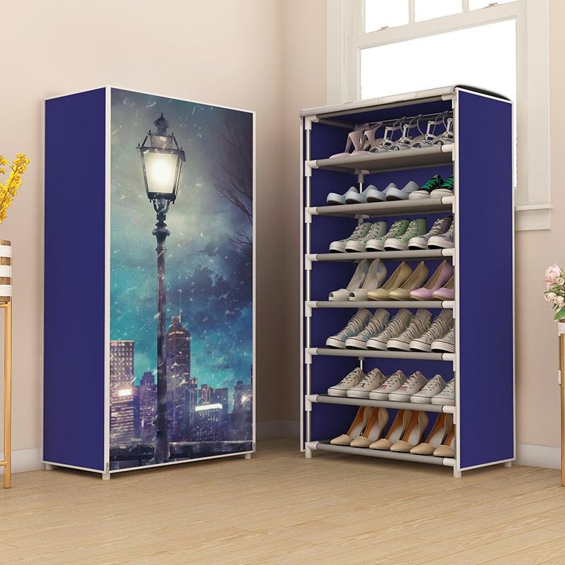 鞋架多层防尘收纳布鞋柜家用门口宿舍简易鞋架子组装省空间经济型