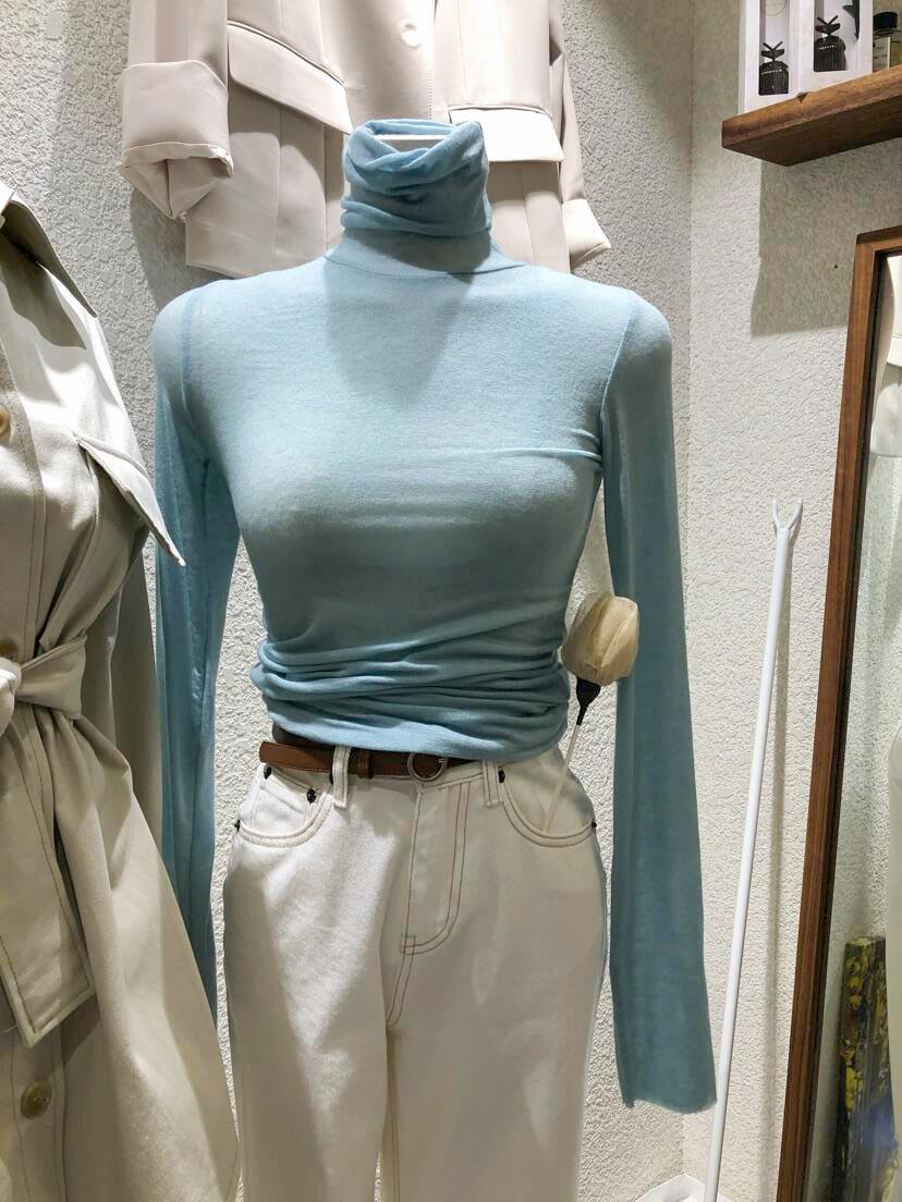 领纯色领长袖打底衫女T恤上衣