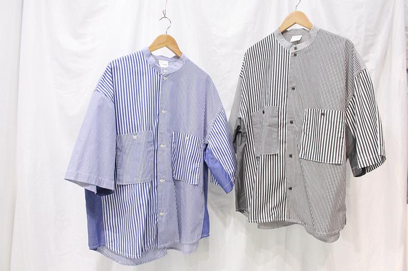 夏装日系复古立领短袖衬衫条纹个性拼接宽松廓形工装衬衣男女款潮
