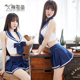 Muya Dai sexy underwear pajamas female long autumn and winter low-cut sexy Japanese student uniforms suit pure short nightgown