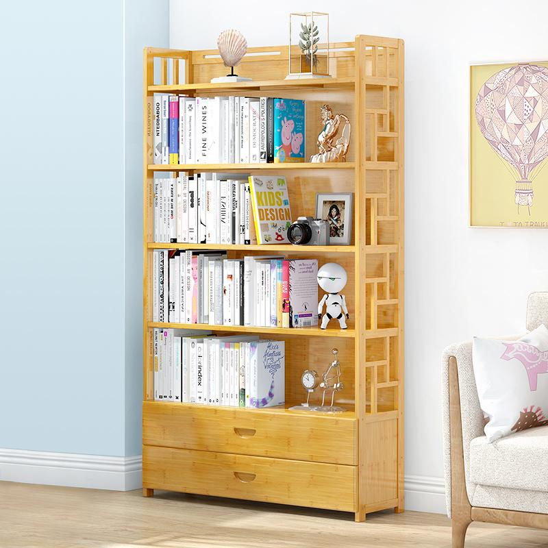简易书架学生用楠竹多层收纳置物架简约现代客厅落地儿童书柜储物主图
