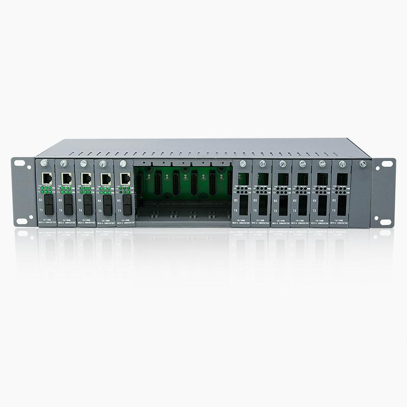 华立信 光纤收发器机架 16槽插卡式收发器机箱双电源光钎机架