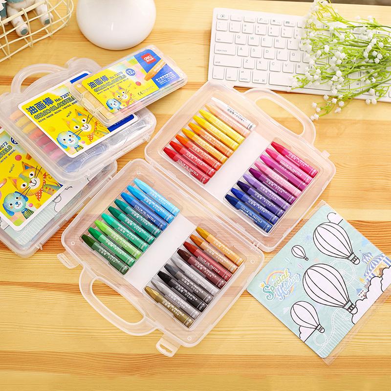 得力油画棒36色包邮12色幼儿童绘画蜡笔18色24色儿童画笔美术用品