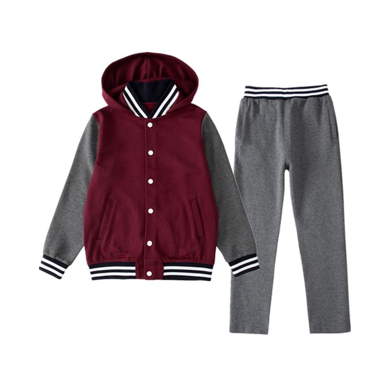 布莱尼迪中小学生校服春秋款枣红棒球服藏青男女英伦学院校服套装
