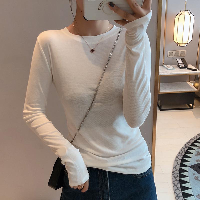 早秋2021年新款女纯棉长袖t恤女修身紧身内搭白色薄款打底衫上衣