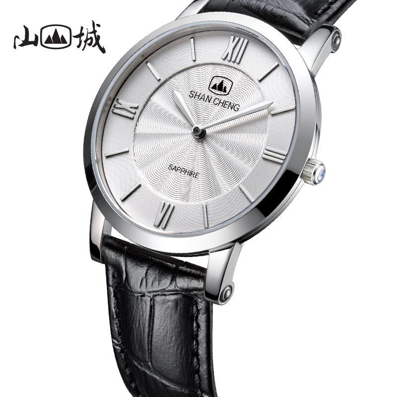 山城手表商务纤薄石英表男简约日本进口机芯皮带防水学生男士腕表