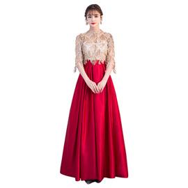新娘结婚衣服红色孕妇敬酒服冬高腰大码胖mm遮肚子显瘦晚礼服裙子