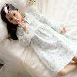 Girls nightdress long-sleeved spring and summer cotton children's pajamas baby girl summer thin section princess home service fairy