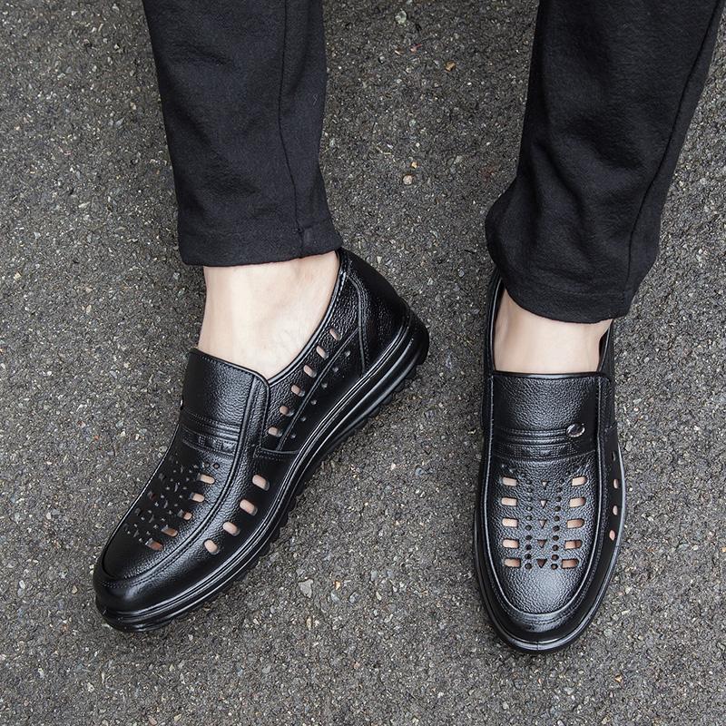 夏季男士爸爸皮鞋男透气镂空皮凉鞋老人中老年休闲软底真皮洞洞鞋