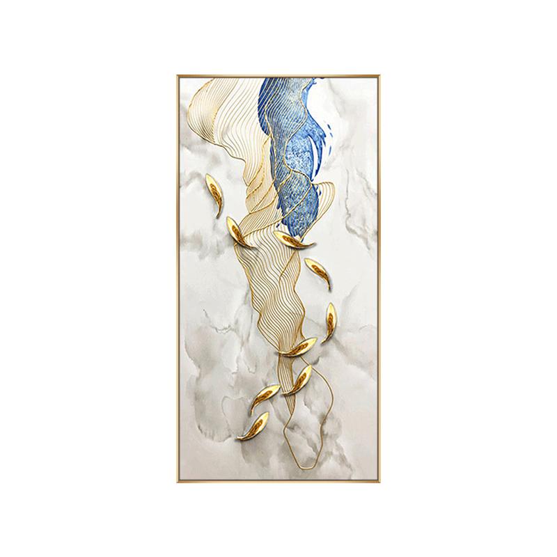 純手繪輕奢九魚圖玄關裝飾畫走廊過道壁畫客廳沙發背景墻掛畫油畫