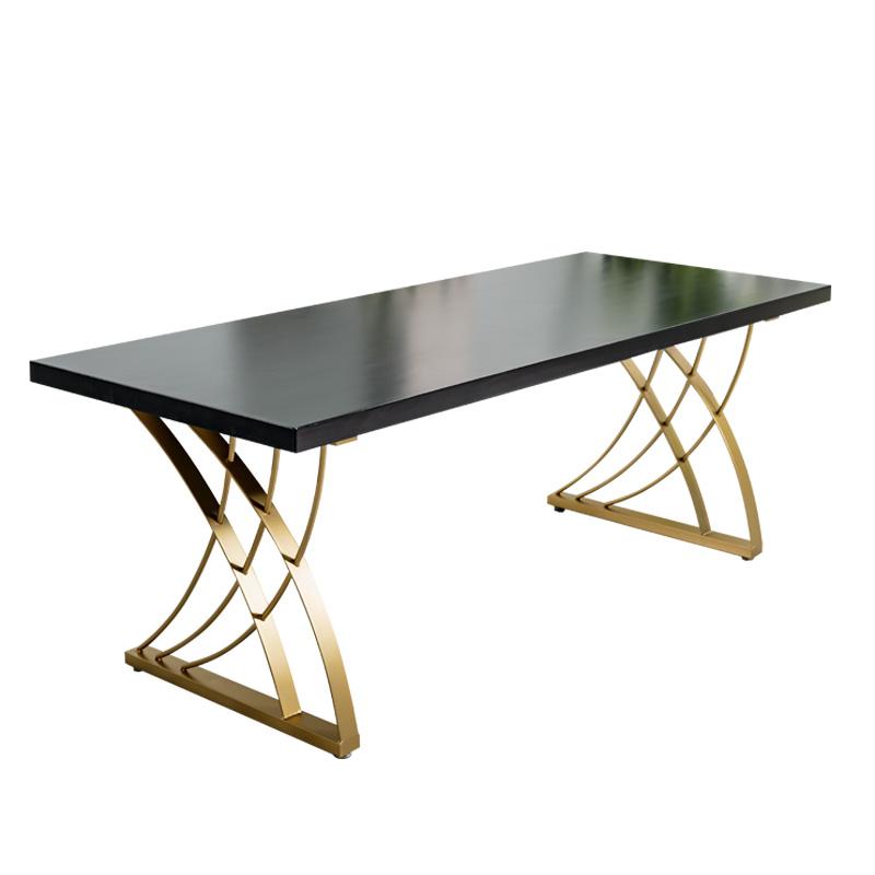 網紅輕奢實木會議桌長桌簡約現代工作洽談接待桌電腦辦公桌椅組合