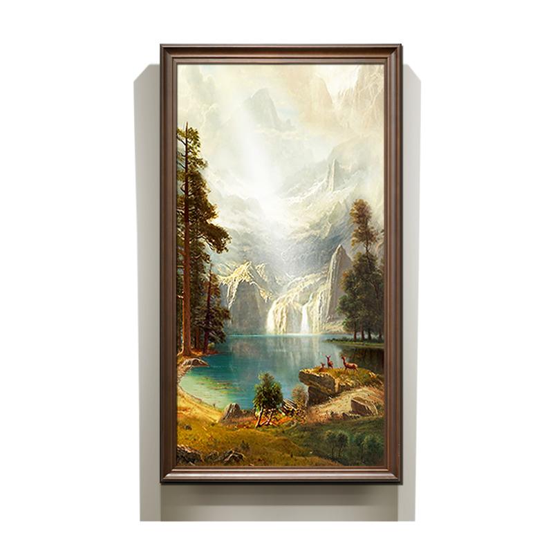 手繪油畫玄關壁畫豎版歐式客廳山水畫美式風景畫掛畫裝飾畫聚寶盆