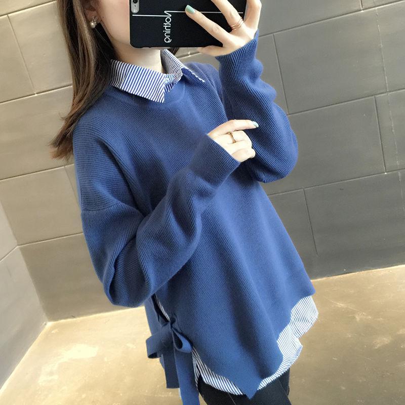 [两件套]条纹衬衫+系带针织衫秋冬新款宽松大码打底毛衣套装女10
