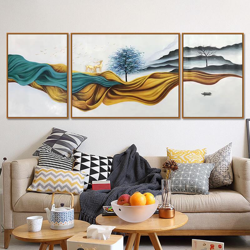 牧庭 手绘油画客厅沙发背景墙装饰画轻奢三联画现代简约玄关挂画