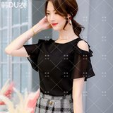 Fashionable casual chiffon shirt female 2020 summer new Korean version of the slim slimming shirt wild bottoming shirt shirt