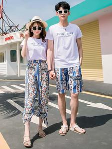 沙滩情侣装ins超火夏装2020新款三亚度假旅游拍照女t恤九分裤套装
