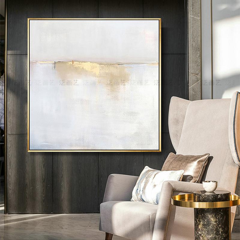 泛画艺手绘抽象油画北欧现代简约黎明海岸美式客厅玄关餐厅装饰画