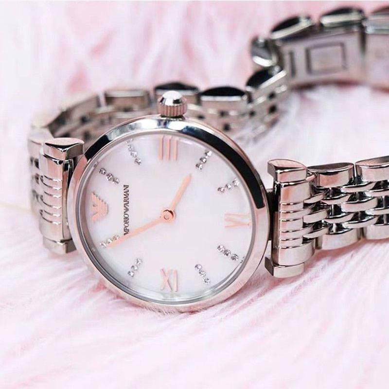 Armani阿玛尼欧美轻奢腕表贝母玫瑰金月光钢带时尚潮流石英女表