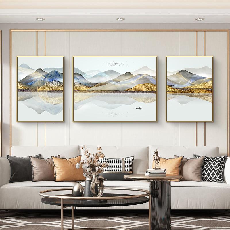 新中式輕奢客廳裝飾畫現代簡約沙發背景墻掛畫辦公室油畫三聯壁畫