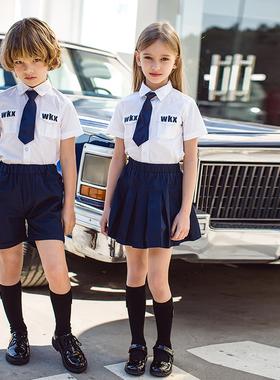 2020新款小学生校服夏装套装英伦风幼儿园园服毕业服装儿童班服潮