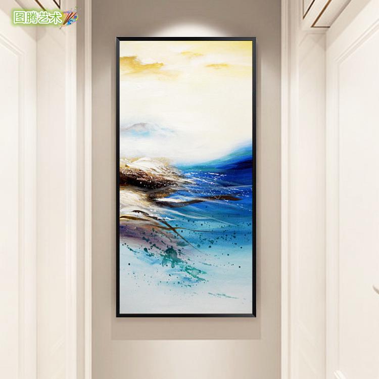现代简约赵无极抽象纯手绘油画北欧玄关风景装饰画办公室艺术挂画
