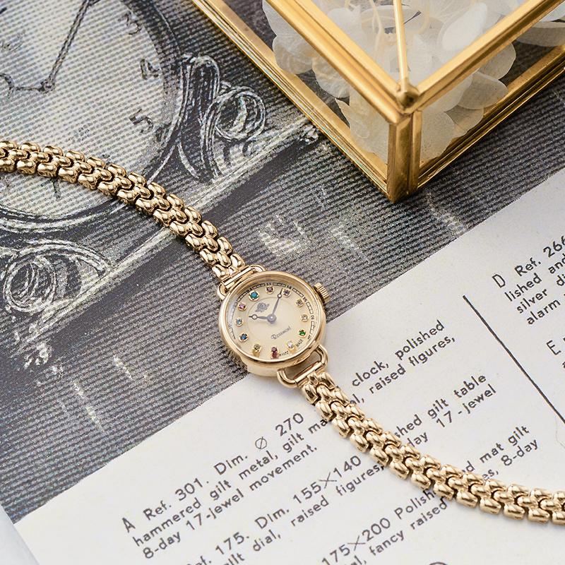 腕表日韩幸运石休闲精致复古金色钢带手表朴敏英同款正品 Rosemont