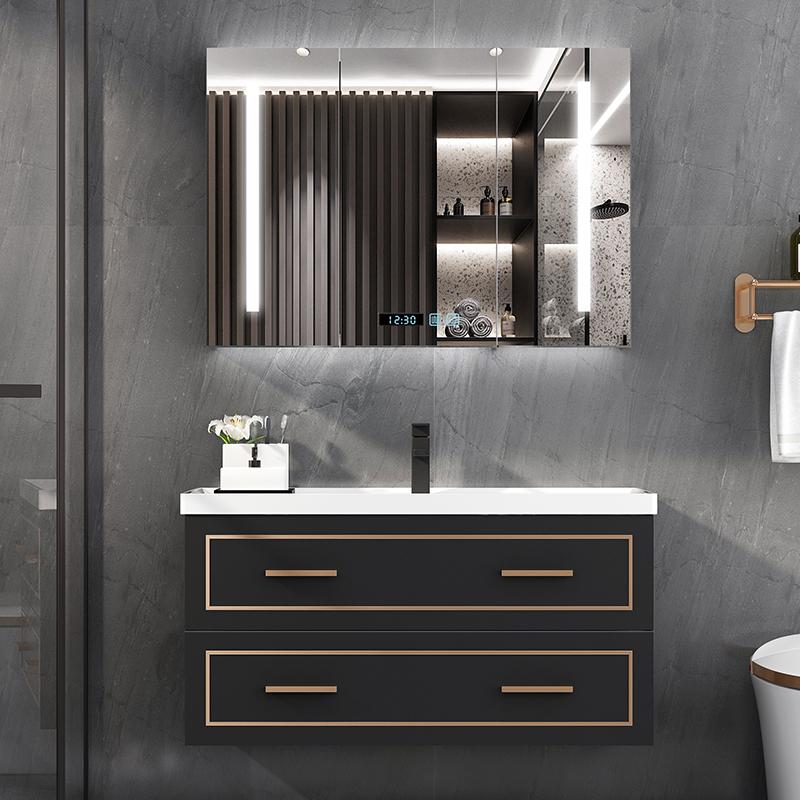 輕奢實木浴室柜洗臉盆洗手盆柜組合智能鏡柜現代簡約衛生間洗漱臺