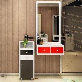 落地挂墙镜框边柜新款美发店镜台发廊一体木质现代带抽屉风格装修