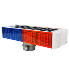 Solar flashing light traffic safety glare warning light red and blue double-sided road barrier light road construction signal roadside
