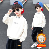 7 Children clothing boys fall and winter clothes shirt plus thick velvet sweater 2019 new big virgin t-shirt tops 13 years old